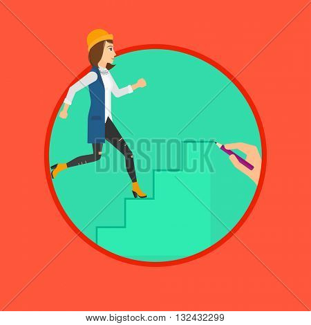 A woman running up the stairs drawn by hand with pencile. Vector flat design illustration in the circle isolated on background.