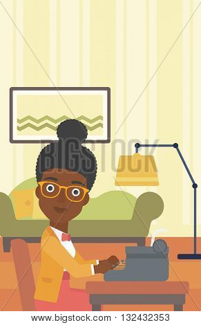 An african-american reporter writing an article on typewriter on the background of living room vector flat design illustration. Vertical layout.