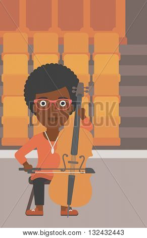 An african-american woman playing cello on the background of empty theater seats vector flat design illustration. Vertical layout.