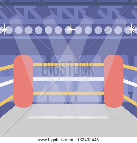 Background of boxing ring vector flat design illustration. Square layout.