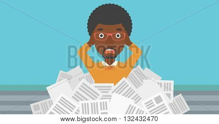 A stressed african-american man clutching his head because of having a lot of work to do with a heap of newspapers in front of him vector flat design illustration. Horizontal layout.