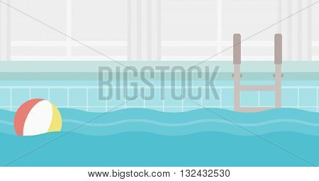 Background of swimming pool with inflatable ball vector flat design illustration. Horizontal layout.
