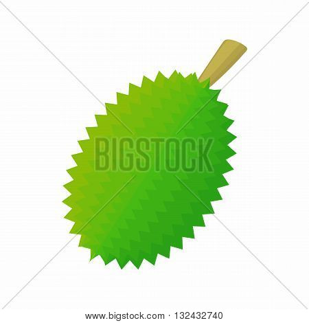Whole durian icon in cartoon style on a white background