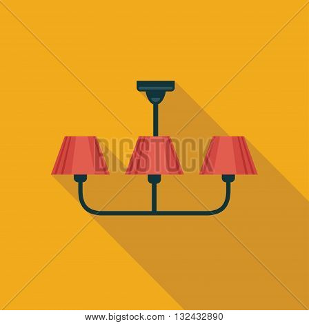 Simple flat icon handing chandeliers. Vector illustration
