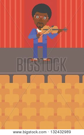 An african-american man  playing violin on the stage vector flat design illustration. Vertical layout.