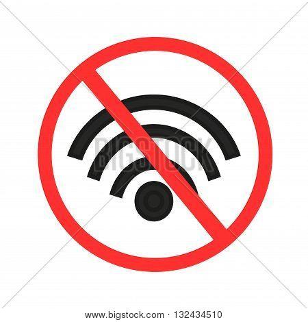No wi-fi symbol.  signal sign vector illusration