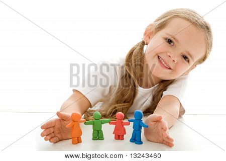Little Girl With Colored Clay Figurines