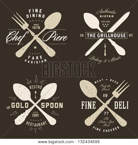 Easy to edit! Set of vector vintage hipster restaurant badges. Great for any food design, retro badge, or label project.
