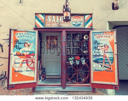 Tallinn Estonia - May 31 2016: Beauty salon in pin-up style on Vaimu street in the Historical Centre of Tallinn city. Tallin Estonia.