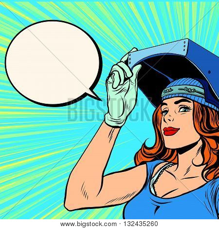 retro girl welder job construction pop art retro vector. Beautiful girl in a mask of the welder.