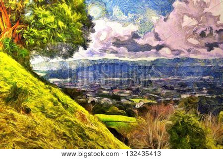 Digital painting of a view from top of a hill across a village with mountains and a cloudy sky in the hroizon
