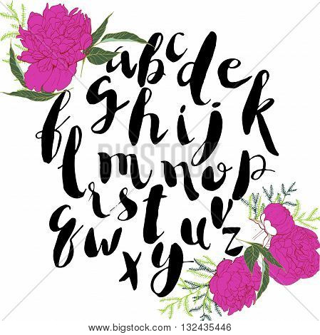 Vectoe handwritten ink font. Bold letters in trendy brush style. Black lowercase alphabeth decorated with peony flowers.