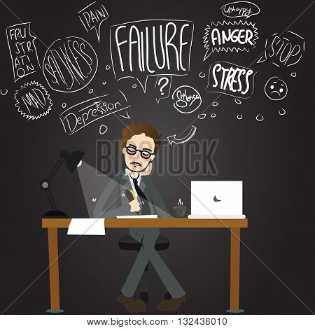 business man stress anger confuse working late night unhappy stressful exhausted cartoon vector illustration