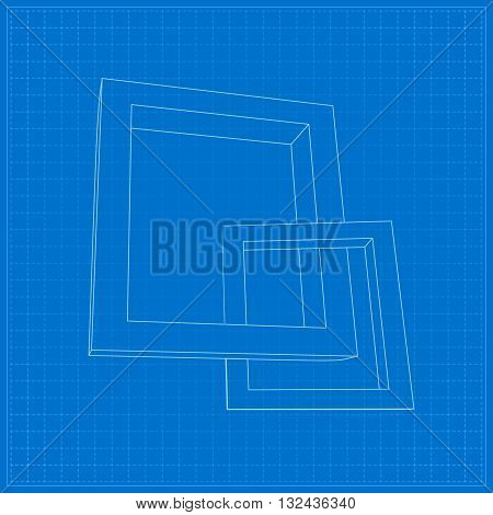 Two schematic rectangular 3D frames for your presentation
