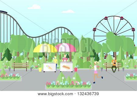 City park with people. Park. Amusement park park for recreation flat park vector park