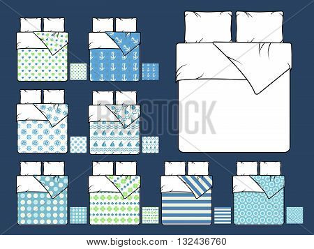 Bedding vector mockup and sample seamless patterns fills. Furniture bedding, comfort pillow, bedding interior, background pattern blanket bedding illustration