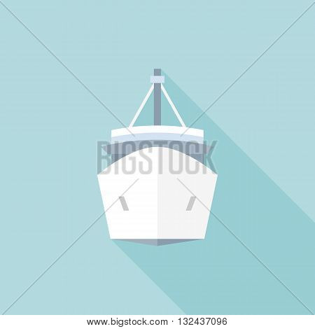 Cargo ship, travel cruise, shipping sign, ship icon, flat design with long shadow
