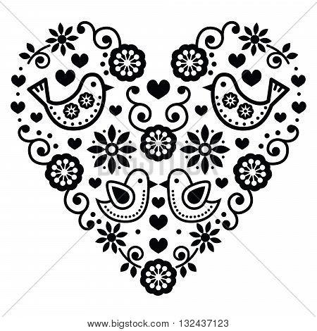 Folk art Valentine's Day heart - love, wedding, birthday greetings card