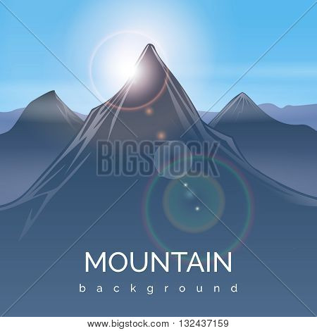 Mountain landscape background with sunbeam. Mountain sunbeam, peak mountain, travel sunlight mountain, sunshine light, vector illustration