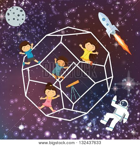 kids imagination space galaxy astrounout rocket beautiful sky flying stars vector