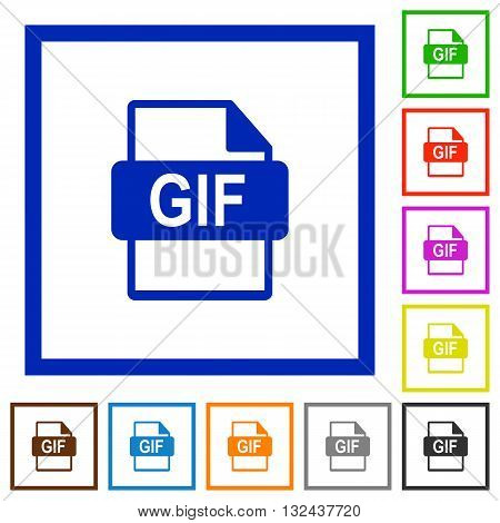 Set of color square framed GIF file format flat icons