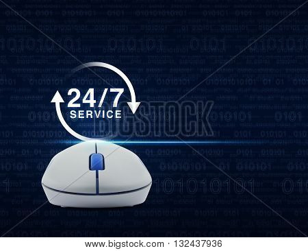 Wireless computer mouse with button 24 hours service icon over computer binary code on blue background Full time service concept