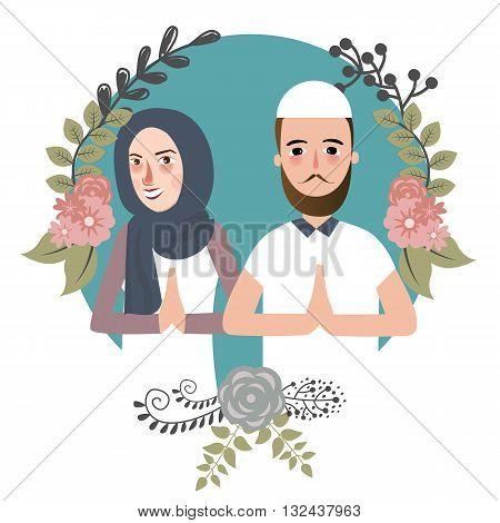 couple muslem islam greetings ramadhan ied as for forgiveness salam mariage vector