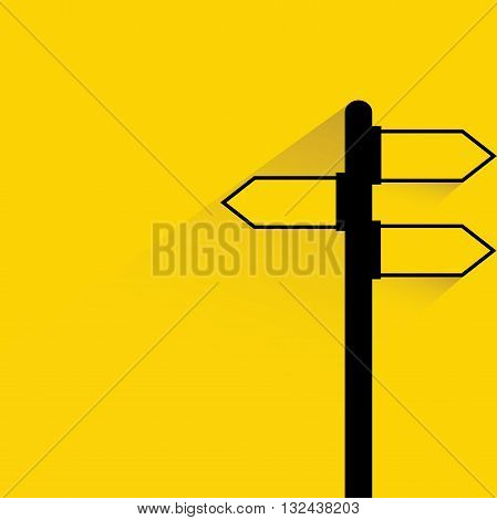 signage with drop shadow on yellow background