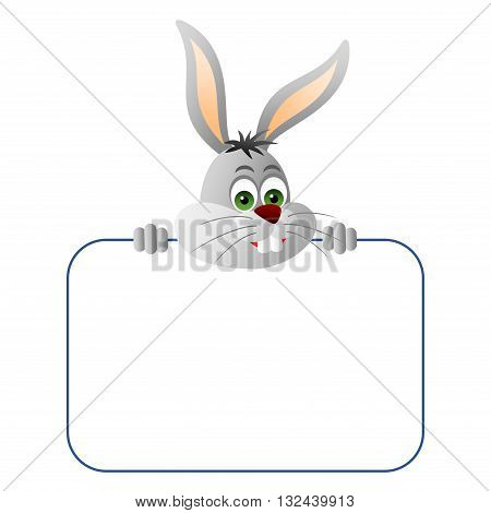 Clipart picture of a rabbit cartoon character holding a blank board.