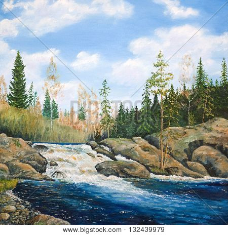 Waterfall on the river taiga . Oil painting on canvas.