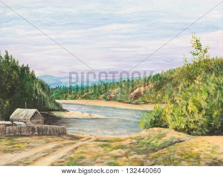 House on the taiga river. Oil painting on canvas