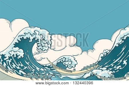 Big wave vector. Sea wave, ocean wave, nature water wave illustration