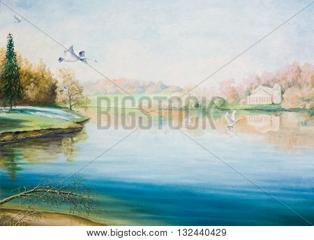 Oil painting on canvas. Quiet lake with swans