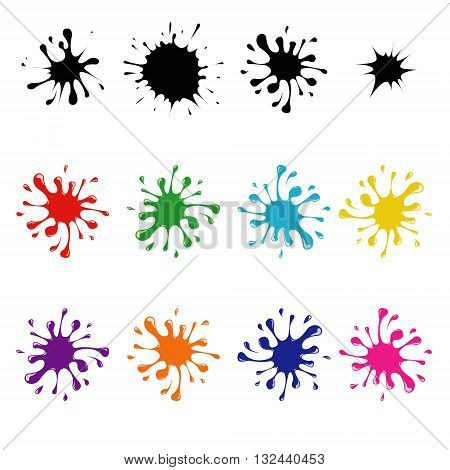 Vector colorful ink blots on a white background blots