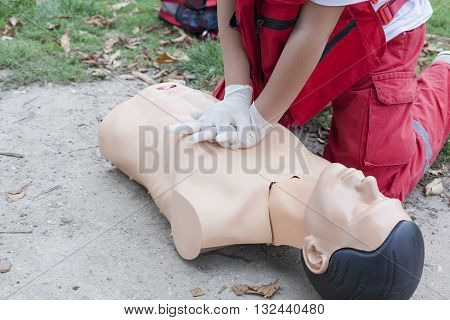 First aid training. Cardiopulmonary resuscitation (CPR) training detail.