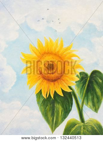 Sunflower on sky background.Oil painting on canvas