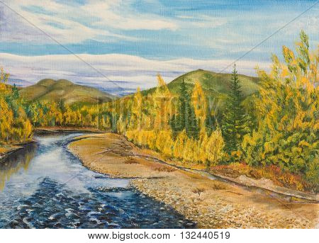 Oil painting on canvas. Autumn in the North