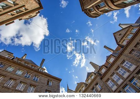 Streets of Saint-Malo on blue sky background