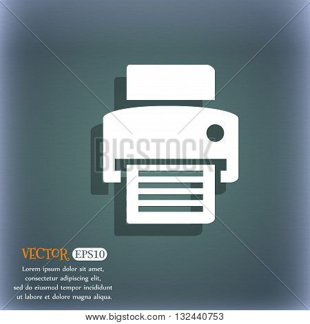 Fax, Printer Icon. On The Blue-green Abstract Background With Shadow And Space For Your Text. Vector