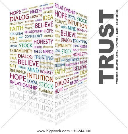 TRUST. Word collage on white background. Illustration with different association terms.