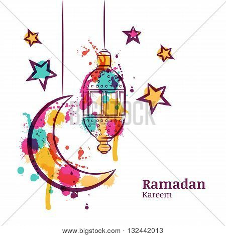 Ramadan Greeting Card With Traditional Watercolor Lantern, Moon And Stars. Ramadan Kareem Watercolor