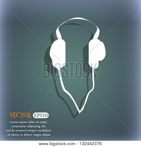 Headphones Icon. On The Blue-green Abstract Background With Shadow And Space For Your Text. Vector