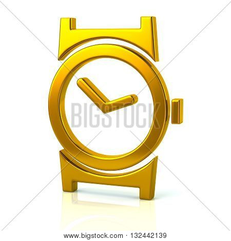 3D Illustration Of Golden Watch Icon