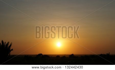 Sunset over the vast expanses of South Africa, dusk in savanna