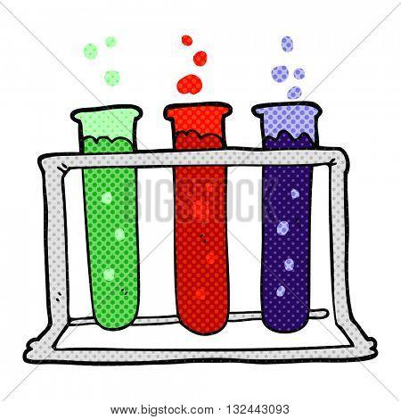 freehand drawn cartoon rack of test tubes