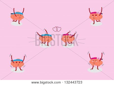 brains couple cartoon character vector illustration showing various act in love moment (conceptual image about people act and fully in love moment)