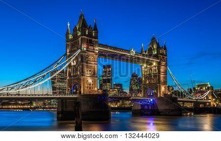 Illuminated Tower Bridge In London After Sunset