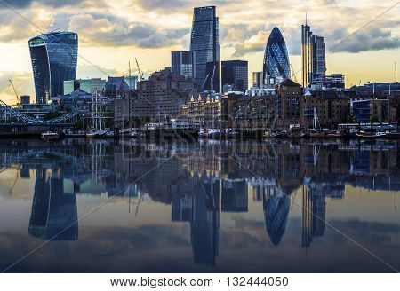 London Cityscape With Reflection From Thames