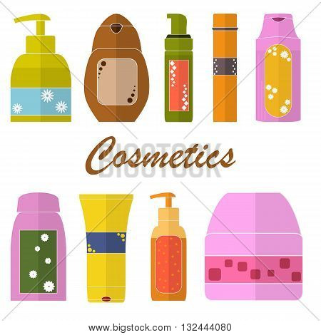 Set of Cosmetic tubes. Flat icons. Packaging of shower gel shampoo soap cream. Cosmetic bottles. Design for a cosmetics store or Spa. Bright colors. Vector illustration.