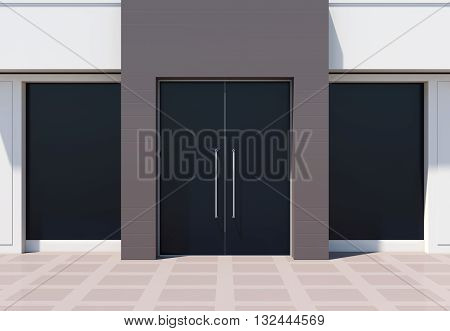 Shopfront with large door and windows. White store facade 3D rendering